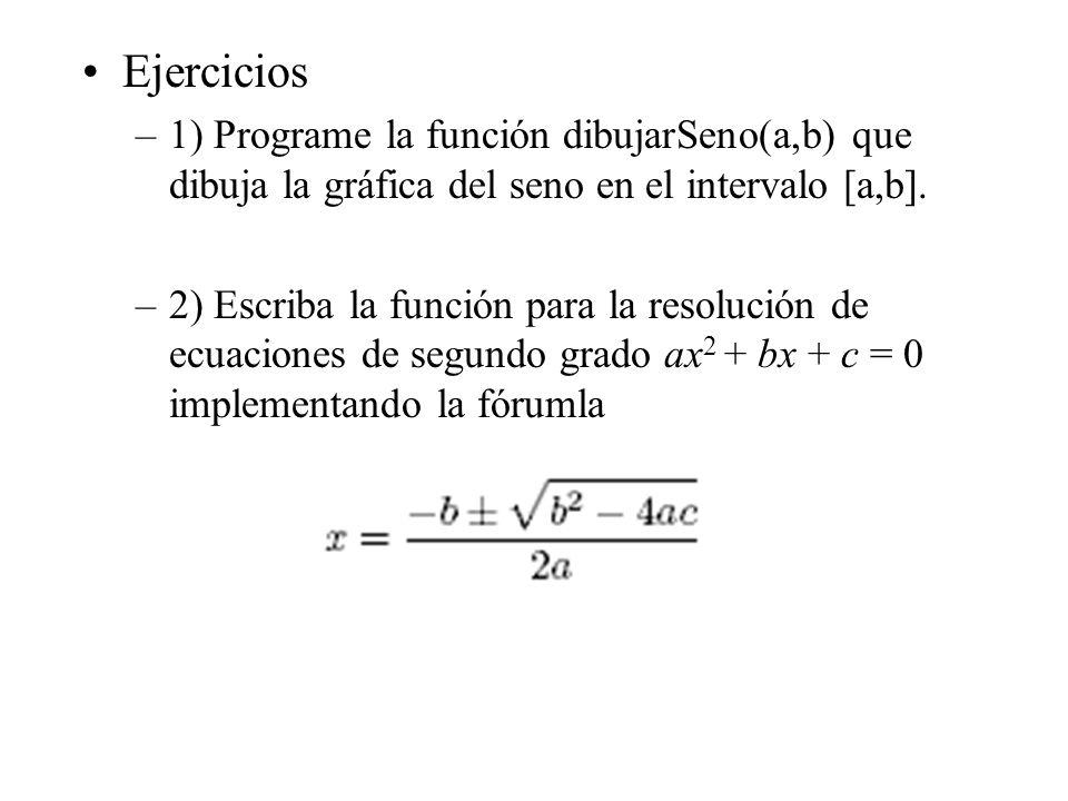Ejercicios 1) Programe la función dibujarSeno(a,b) que dibuja la gráfica del seno en el intervalo [a,b].